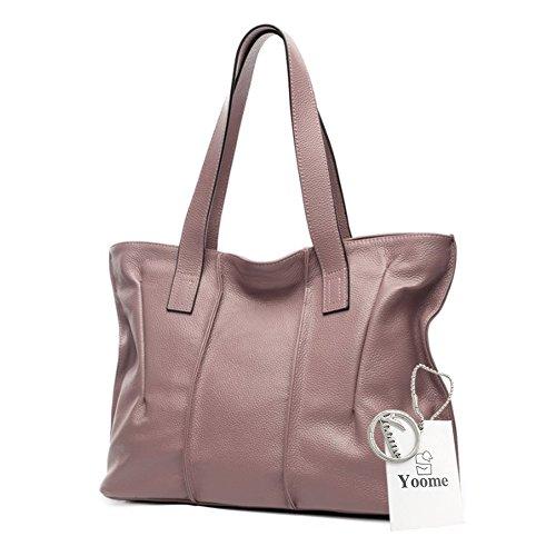 Borse da donna Yoome per le donne Borse Real Handle in vera pelle Borse eleganti d'epoca per le donne - Beige Rosa