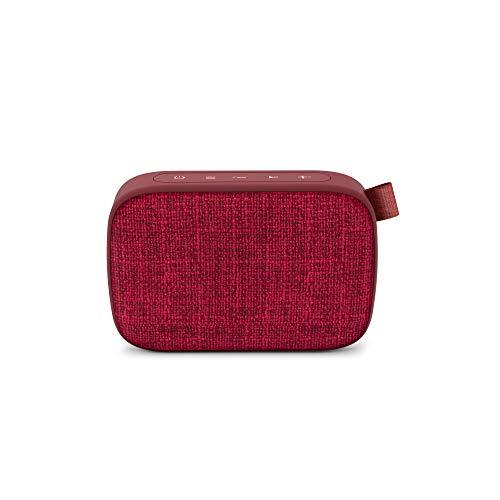 Energy Fabric Box 1+ Pocket Cherry - Altavoz portátil (TWS, Bluetooth v5.0, 3W, USB&microSD Player, FM Radio, Audio-In), Color Rojo