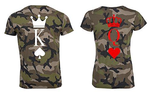 TRVPPY Partner Herren + Damen Camouflage T-Shirts King Pik & Queen Herz, Herren S, Damen XL (Frauen T-shirt Camo Herz)