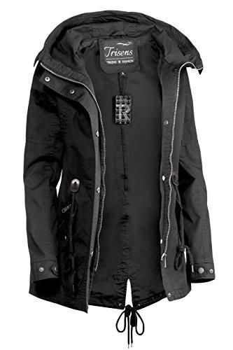 Trisens Damen Jacke ÜBERGANGSJACKE Trenchcoat Kapuze 100% Baumwolle LEICHT KURZ, Farbe:Schwarz, Größe:S - 4