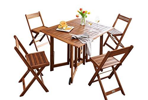 Set de balcon en acacia table de jardin avec chaises Table ...