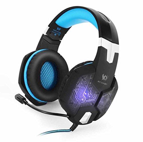 YFQH G1000 Professionelle 3,5 mm PC Gaming Bass Stereo Headset Kopfhörer Kopfhörer Stirnband mit Mikrofon Mikrofon Geräuschisolierung Over-Ear Bunte Atmung LED-Licht Für Laptop-Computer,Blue