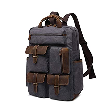 Mochila de Viaje de Cuero para Hombre de Europa de Lujo Lona Bolsas de Lona Impermeables Equipaje de Gran Capacidad Mochilas Dark Grey