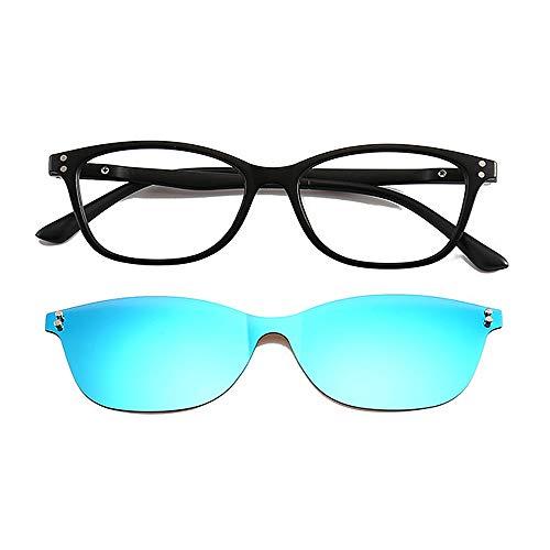 Blaue blockierende Gläser Einteilige Art Retro Sonnenbrille mit austauschbaren Objektiven für Männer Frauen farbige Linse unzerbrechlich TR90 Frame Clip-on UV-Schutz Magie Sonnenbrille mit magnetische