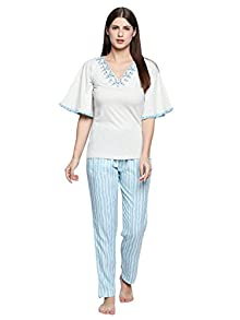 3392469b06 Valentine Night Suit for Women - White and Blue Lounge Set for Women -  Plain Top