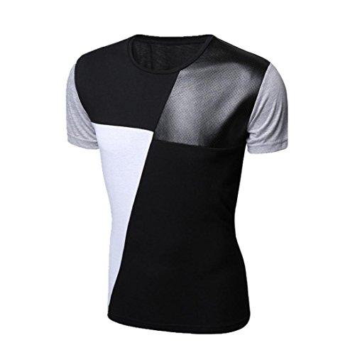 Rcool O- Ansatz Patchwork-T-Shirts T-Männer Short Sleeve Slim Fit Rundhalsausschnitt Tops Schwarz