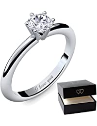 Engagement Rings for Women by AMOONIC made with * Zirconia* Proposal Ring Silver 925 Ring *Free Gift Box! Promise Ring Zirconia like Diamond Ring will you marry me AM195SS925ZIFA.UK