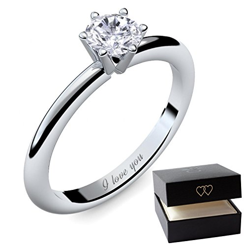 Engagement Rings for Women by AMOONIC made with *SWAROVSKI Zirconia* Proposal Ring Silver 925 Ring *Free Gift Box! Promise Ring Zirconia like Diamond Ring will you marry me AM195SS925ZIFA54.UK