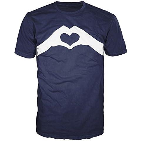 Love bufanda manos libres T-camiseta de manga corta (azul marino)