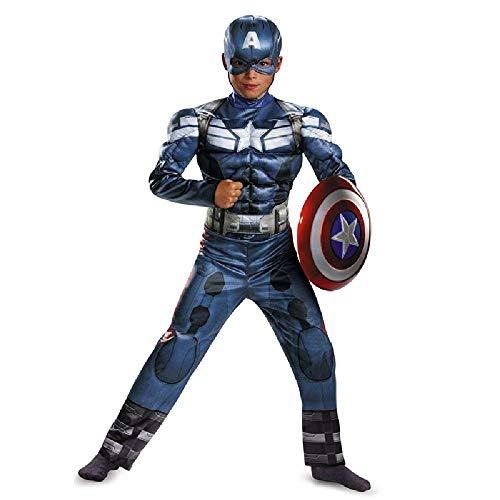 RANRAN Kinder Captain America Kostüm Bühnenkostüm Halloween Kostüm (Übergröße Fett Kostüm)