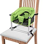 Portable Booster Seat, Booster Feeding Seat W/Carrying Bag|Folding High Chair for Home & Travel, Toddler Booster Chair Straps to Kitchen Dinner Table