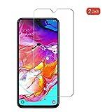 GEEMEE (2 Pezzi Pellicola Vetro Temperato per Samsung Galaxy A70, Durezza 9H Protezione Schermo, Anti Graffi HD Trasparenza Protettiva Screen Protector Film (Transparente)