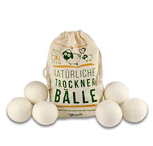 VITULOS Trocknerbälle für Trockner - 6 extragroße Trocknerkugeln aus Schafwolle für Wäschetrockner - perfekt geeignet für Daunen/Daunenjacken