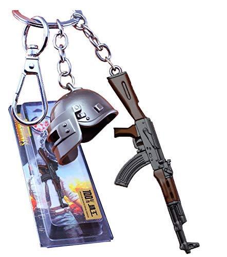 Inestimable Collection PubG Livello Casco 3 con AKM Pistola d'Argento, Brown Portachiavi