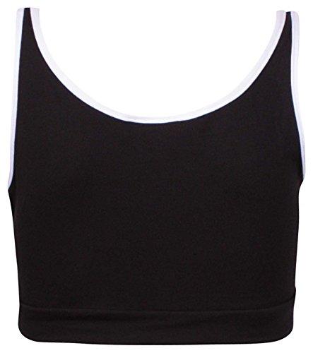 Damen Training Printed Damen Stretch-BH mit Trägern kurze Weste, T-Shirt ärmellos Schwarz - Schwarz