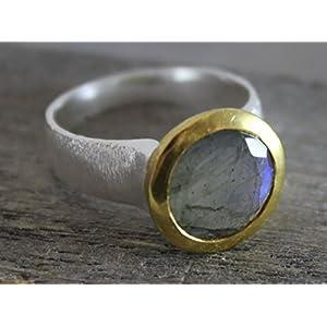 Labradorit Mixed Metall vergoldet Sterling Silber Ring US-Größe 8 / Diameter 18.2