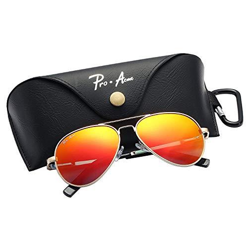 Pro Acme Jungs Kleine polarisierte Flieger-Sonnenbrille für Kinder und Jugendliche Alter 5-18 Klein Gold Frame / rot verspiegelten Gläsern