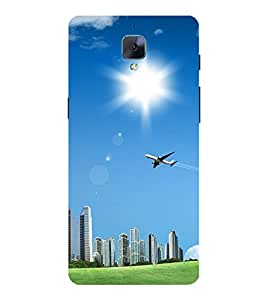 Takkloo buildings blue sky,Aeroplane, sun in sky, sun rays) Printed Designer Back Case Cover for OnePlus 3 :: OnePlus Three :: One Plus 3