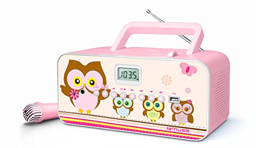 Muse M-29KP CD-Radio für Kinder mit Mikrofon und Sing-A-Long Karaoke Funktion (CD / MP3, USB, AUX-In, LCD-Display, Teleskopantenne), Pink mit Eulenmotiven