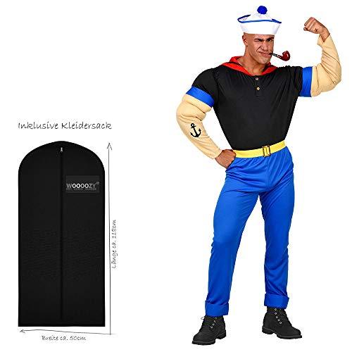 WOOOOZY Herren-Kostüm Muskel Seemann, Gr. S - inklusive praktischem Kleidersack