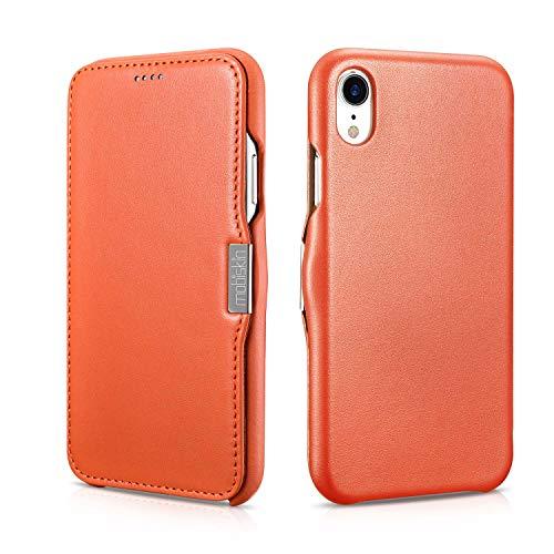 Mobiskin Tasche für Apple iPhone XR (6,1 Zoll) | Case mit Echt-Leder Außenseite | Schutz-Hülle seitlich aufklappbar | Ultra-Slim Cover | dünne Klapphülle | Etui | Orange