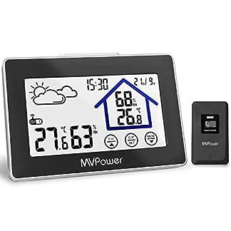 MVPower Estación Meteorológica Inalámbrica Digital, Retroiluminada, con Sensor Exterior, con Termómetro Interior y Exterior, Pantalla de Temperatura Fecha Hora, etc