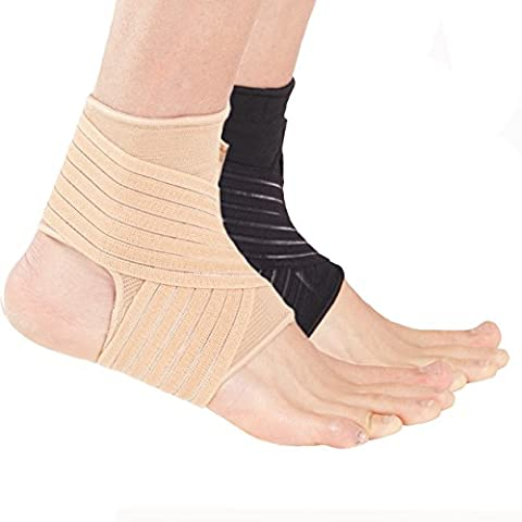 Actesso Ankle Support Sleeve with Wrap around Strap - the Ultimate Support for Sprains, Strains and Sports injury (Medium, Beige)