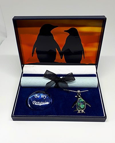 Penguin gift box, Sunset Tryst with abalone pendant by pebblez and penguinz -