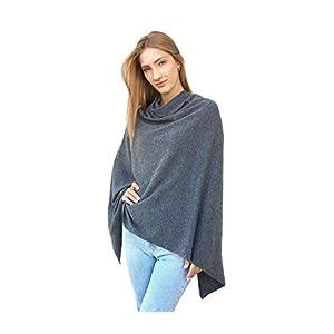 Poncho-Schal mit Kaschmir Hochwertiges Cape für Damen XXL Umhängetuch und Tunika mit Ärmel – Strick-Pullover