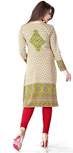 Femmes Long Inde Tunique Kurti Imprimé Blouse Indienne Vêtements Marron