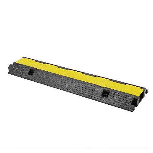 PrimeMatik - Boden Kabel Protector Kabelführungs-Cover Gummi mit Rampe 1-Wege 99x26cm schwarz