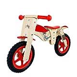 Laufräder Rotes Balance-Fahrrad aus Holz, Kinderfahrräder mit verstellbarem Sitz, Holzmaserung