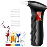 POMILE Alcoholímetro Digital Portátil con Sensor Semiconductor, Pantalla LCD Digital Grande Breath Alcohol Tester, 5 Boquillas Adicionales (en la Parte Posterior del Probador)