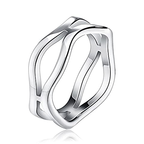 D&Min Jewelry Silver Stainless Steel Hollow Out Ring for Men Women Size V 1/2