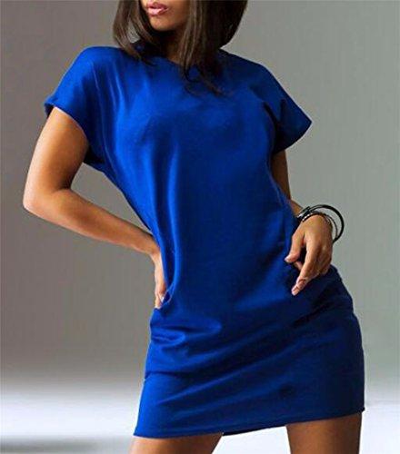QIYUN.Z Femmes Couleur Unie Robes Casual Rouge Noir Bleu Manches Courtes Poche Ete Bleu