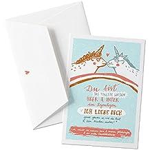 Witzige Valentinskarte mit liebenden Einhörnern - Du bist das tollste Wesen - zum Valentinsgeschenk, Jahrestag, Heiratsantrag auf edlem Büttenpapier HELLBLAU mit Umschlag, für Verliebte Grüße