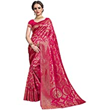 Glory Sarees Women's kanchipuram Style Art Silk Saree (Pink)
