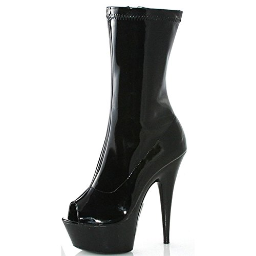 WIKAI Donna Stivali Stivali moda primavera autunno PU Party & Sera Zipper Stiletto Heel Nere 5in & oltre,Black,noi11.5 / EU43 / UK9.5 / CN45 Black