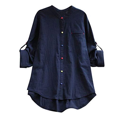 �pfe Asymmetrische Freizeithemd Tops Bluse Herbst Winter Kleid Lange Strickjacke Cardigan Damen Lang Arbeit Hemd Shirt Oversize Blusen Streetwear (Farbtaste Blau, XXXXX_Large) ()