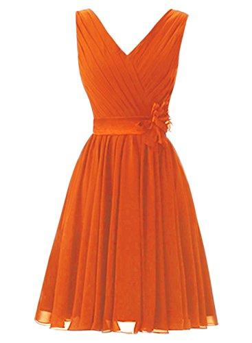 Azbro Women's Elegant Ruffled Sleeveless Cocktail Bridesmaid Dress Orange