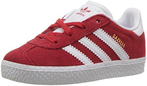 adidas Originals Boys' Gazelle I Sneaker, Scarlet/White/Gold Foil, 4 Medium US Toddler (Adidas Toddler Sneaker)