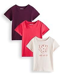 RED WAGON T-Shirt con Stampa Bambina, Pacco da 3
