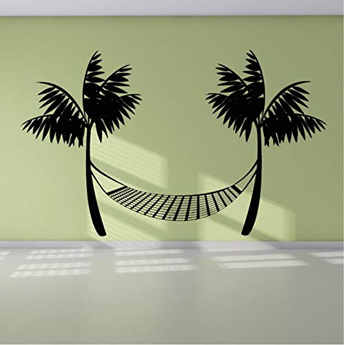 Lzyx Wall Decal Vinyl Durable Black Printed Beach Hammock Wall Sticker Palm Trees Home Decor59X37Cm