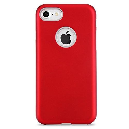 GR Ultradünnes Slim Case für iPhone 7, Dual Layer PC + TPU Hybrid Gehäusedeckel 360 ° Ganzkörper-Schutz Shock Absorbtion Case ( Color : Gray ) Red