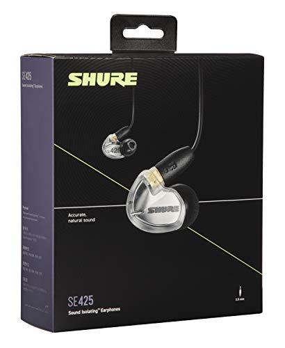 Shure SE425 In Ear Kopfhörer mit Sound Isolating Technologie, 3, 5-mm-Kabel, Fernbedienung und Mikrofon - Premium Ohrhörer mit warmem & detailreichem Klang - Silber - 4