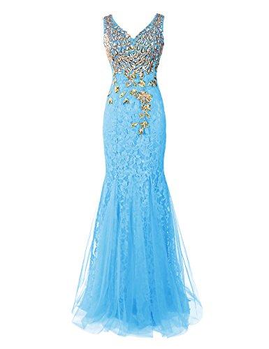 Dresstells Damen Luxuriöse Königliche Ballkleider Pfau Abendkleider Blau