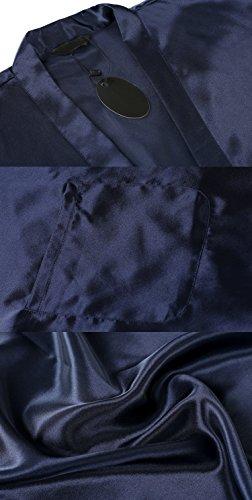ADOME Damen Satin Kimono Bademantel Robe Lange Nachtwäsche Saunamantel Nightwear Pyjama mit Taschen Morgenmantel A-Dunkelblau