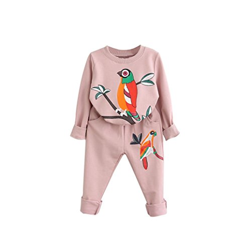 Bekleidung Longra Kleinkind Kids Baby Mädchen Jungen Outfit Kleidung drucken Langarm-T-Shirt Tops+ lange Hosen 1Set Kinder Kleidung (2-7Jahre) (120CM 4-5Jahre, Pink) (Länge 4 3 Shirts)