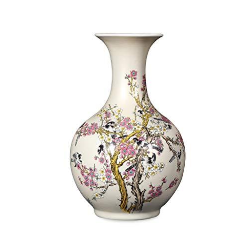 PAN Vogel auf Pflaumenblüte Famille Porzellan hohe Blumenvase, 15 Zoll, für Home & Office Dekor Akzent, Höhe 13,8