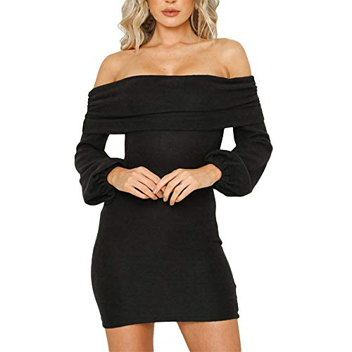 Elecenty Damen Langarmkleid Schulterfrei Partykleid Bodycon Minikleid Mantel Solide Rock Mädchen Kleider Frauen Mode Kleid ()